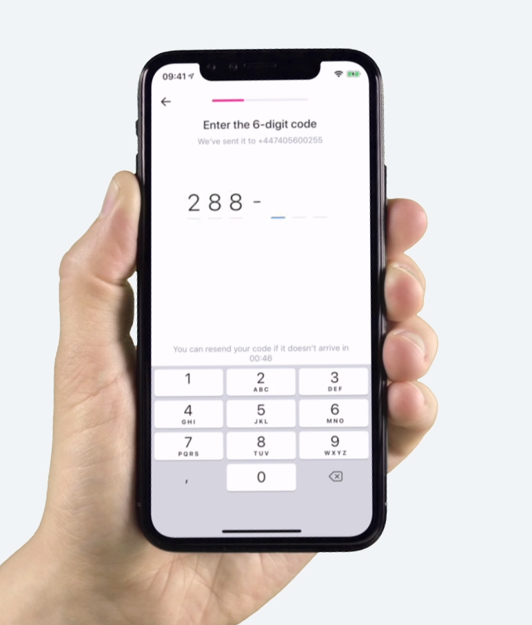 Revolut Signup process: fill 6 digits code received by SMS