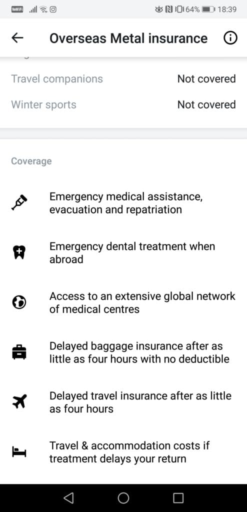 Revolut Metal Overseas Insurance Coverag