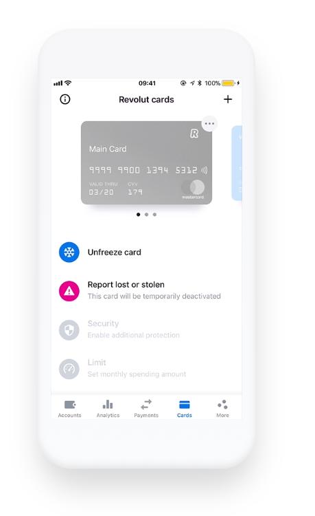 Revolut App: Cards Security Options Freeze Unfreeze Card, Report Lost or Stolen