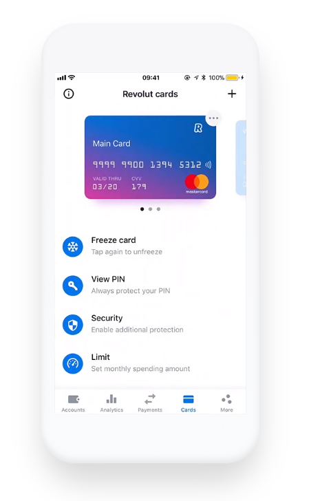 Revolut app: Physical Card Security Options, Freeze, View PIN, Security, Limit