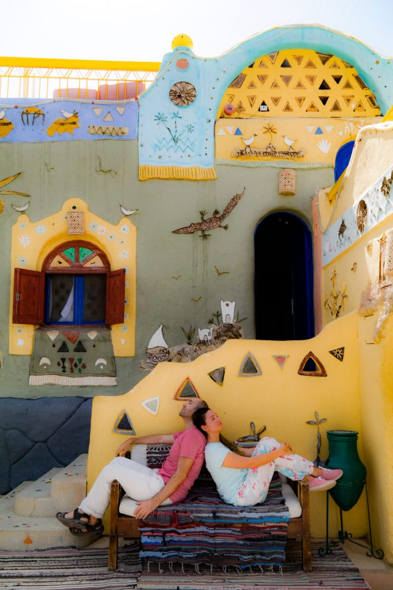 egypt travel guide, nubian village, relax at the colorfull houses