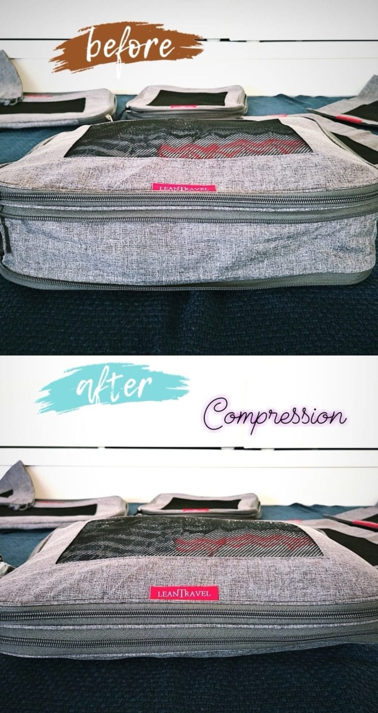 A must be on your holiday packing list: Lean Travel Compression Packing Cubes - Use them when traveling or in holiday to gain space in your luggage